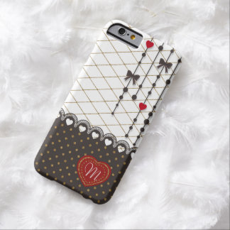 Cute trendy lace faux gold glitter strokes pattern barely there iPhone 6 case