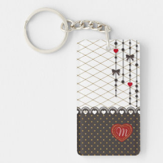 Cute trendy lace faux gold glitter strokes pattern Double-Sided rectangular acrylic key ring