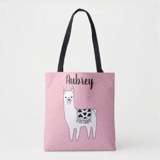 Cute Trendy Llama Sketch & Name Tote Bag