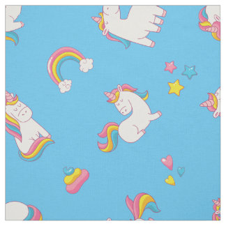 Cute TRENDY Magical Unicorn Pastel color BLUE Fabric