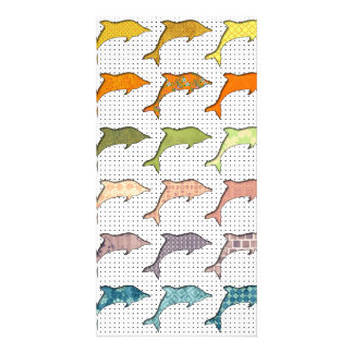Cute Trendy Pastel Dolphins on polka dot Picture Card