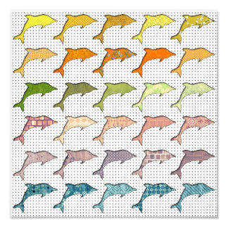 Cute Trendy Pastel Dolphins on polka dot Photo