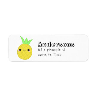 Cute Trendy Pineapple Family Name Return Address Return Address Label