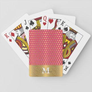 Cute trendy polka dots faux gold glitter pattern poker deck