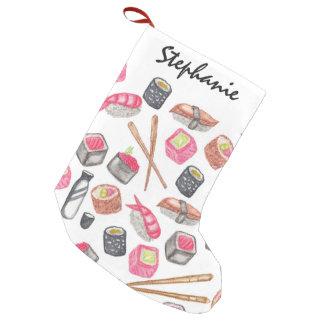 Cute Trendy Watercolor Sushi Sake and Chopsticks Small Christmas Stocking