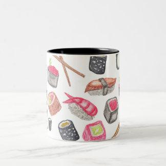 Cute Trendy Watercolor Sushi Sake and Chopsticks Two-Tone Coffee Mug