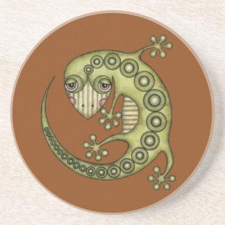 Cute Tribal Green Gecko Coaster