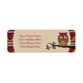 Cute Tribal Pattern Owl Branch Moon Leaves Ethnic Return Address Label