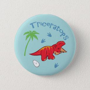 Cute Triceratops 6 Cm Round Badge