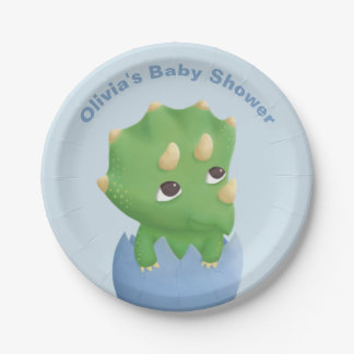 Cute Triceratops Baby Shower Party Plates