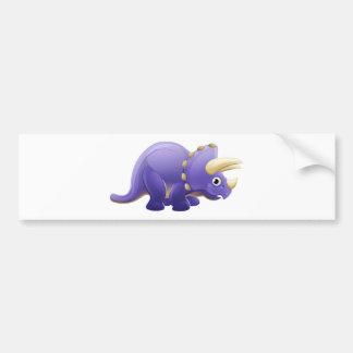 Cute Triceratops Cartoon Dinosaur Bumper Sticker