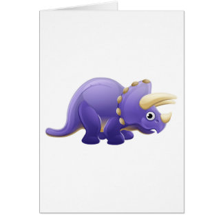 Cute Triceratops Cartoon Dinosaur Card