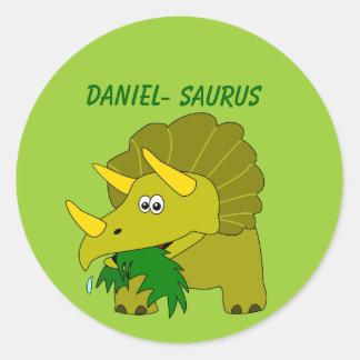 Cute Triceratops Custom Name Dinosaur Cool Kids Classic Round Sticker