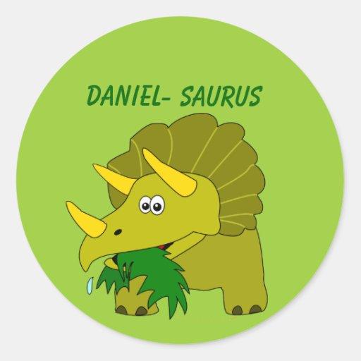 Cute Triceratops Custom Name Dinosaur Cool Kids Sticker