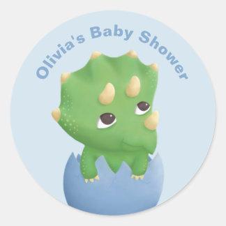 Cute Triceratops Dinosaur Baby Shower Sticker