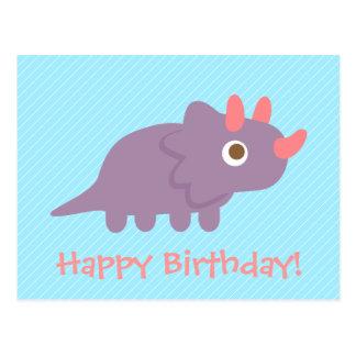 Cute triceratops dinosaur kids happy birthday postcard