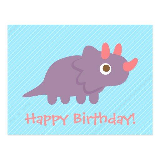 Cute triceratops dinosaur kids happy birthday postcards