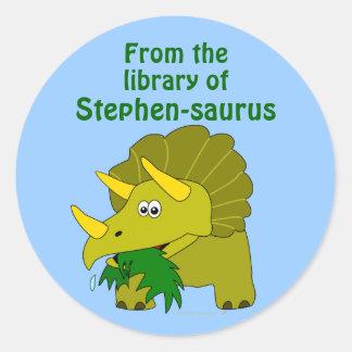 Cute Triceratops Dinosaur Personalized Bookplate Classic Round Sticker