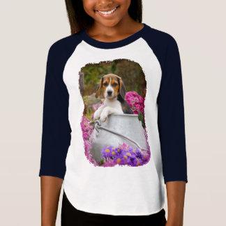 Cute Tricolor Beagle Dog Puppy Milk Churn - Raglan T-Shirt