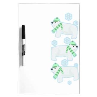 Cute Triple Polar Bears Dry-Erase Whiteboards