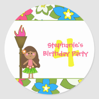 Cute tropical hula girls birthday party stickers
