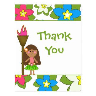 Cute tropical hula girls thank you postcard