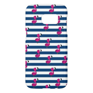 cute tropical pink baby flamingo navy blue stripes