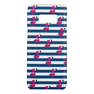 cute tropical pink baby flamingo navy blue stripes Case-Mate samsung galaxy s8 case