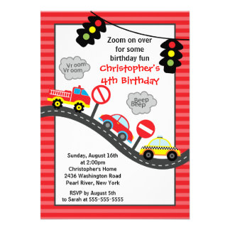 Cute Trucks Cars Birthday Party Invitation