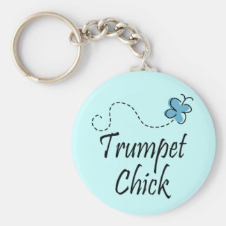 Cute Trumpet Chick Music Key Ring