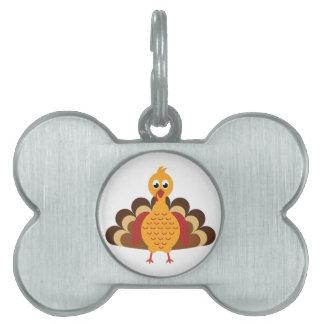 Cute Turkey Day Cartoon Pet ID Tag