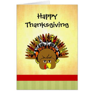 Cute Turkey Happy Thanksgiving Greeting Card