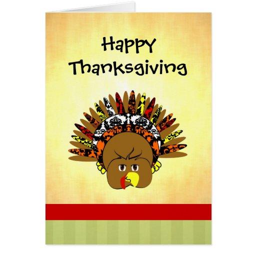 Cute Turkey Happy Thanksgiving Greeting Card