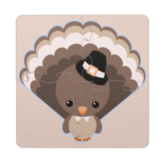 Cute Turkey Thanksgiving Day Puzzle Coaster