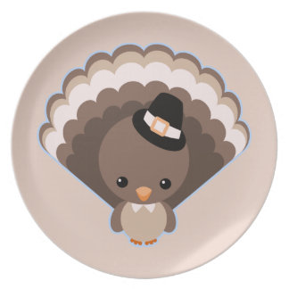 Cute Turkey Thanksgiving Day Plate