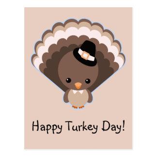 Cute Turkey Thanksgiving Day Postcard