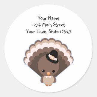 Cute Turkey Thanksgiving Day Classic Round Sticker