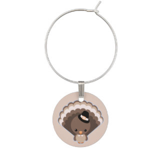 Cute Turkey Thanksgiving Day Wine Charms