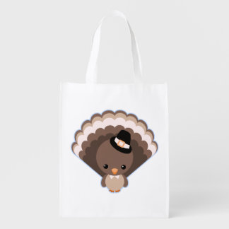 Cute Turkey Thanksgiving Day Reusable Grocery Bag