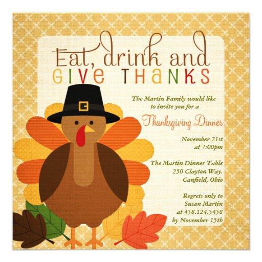 Cute Turkey Thanksgiving Dinner Invites