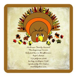 "Cute Turkey Thanksgiving Dinner Invitation 5.25"" Square Invitation Card"