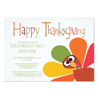 "Cute Turkey Thanksgiving Dinner Party Invitation 5"" X 7"" Invitation Card"