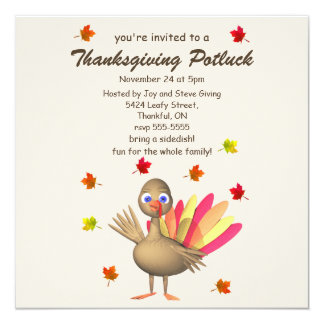 Cute Turkey Thanksgiving Potluck 13 Cm X 13 Cm Square Invitation Card