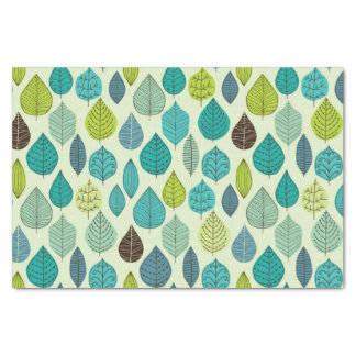 Cute Turquoise and Green Leaf Tissue Paper