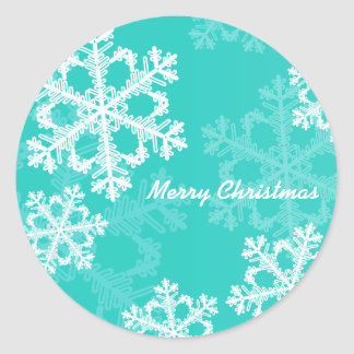 Cute turquoise and white Christmas snowflakes Round Sticker