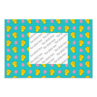 Cute turquoise baby chick easter pattern photograph
