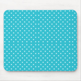Cute Turquoise Blue Polka Dots Pattern Mouse Pad