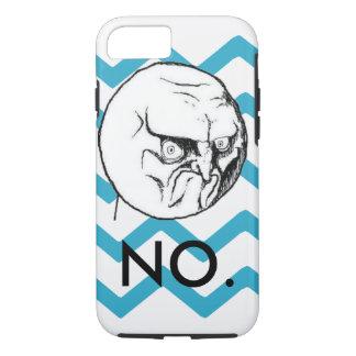 "Cute Turquoise Chevron ""NO"" meme iPhone 7 Case"