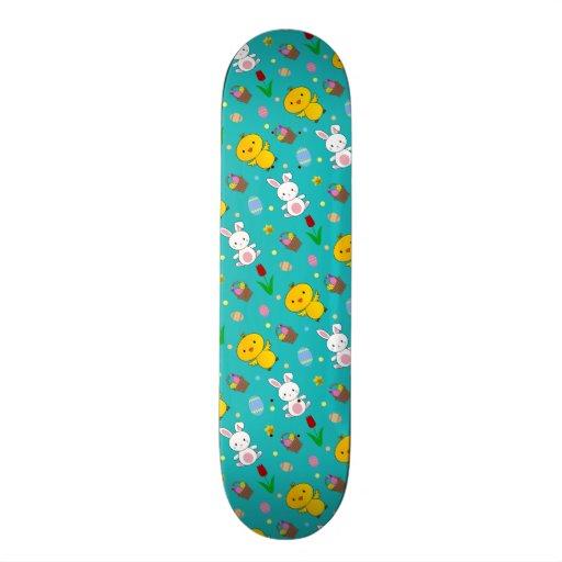 Cute turquoise chick bunny egg basket easter skateboard decks