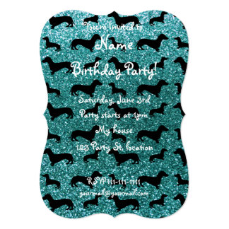 Cute turquoise dachshund glitter pattern personalized invites